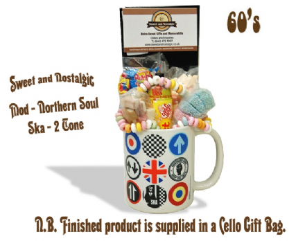 Mod / Northern Soul / Ska  icons Mug with/without 60's or 70s retro sweets.